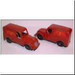 Charbens No.10 Royal Mail Van - first casting - rubber tyres (left), standard wheels (right)